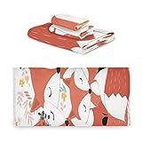 RAUP Handtuch-Set 3-teilig, Vintage Cute Fox Wolf Mother Handtuch Badezimmer-Sets, 1 Badetuch, 1 Waschlappen, 1 Handtuch, weiche Multifunktion für Heimküche Hotel Gym Swim Spa.