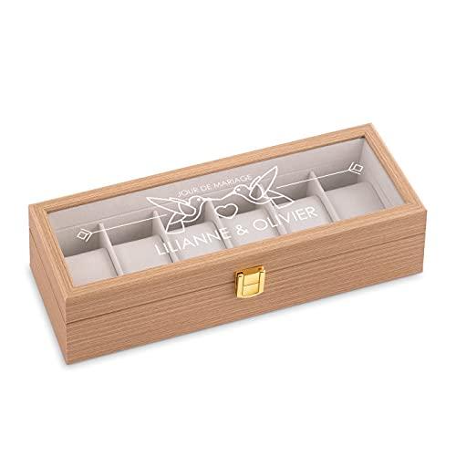 Maverton Boîte à 6 montres personnalisée en bois pour couples - Coffret pour collection de montres - Cadeau d'anniversaire - Pour couples mariés - Cadeau gravé - Mariage