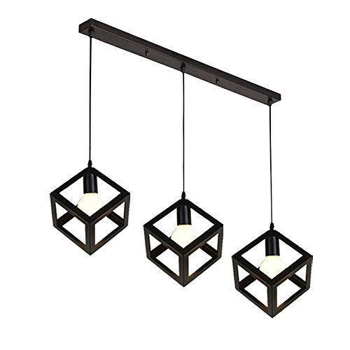 STOEX Pendelleuchte Vintage, Kronleuchter Lampenschirm Industrial Cube 3 Lights, Schwarz