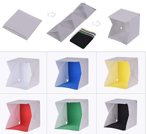 Leakey Caja de luz portátil para estudio fotográfico, con 6000 K LED blanco, caja de luz blanca plegable, equipada con 6 paños de fondo, luces integradas y cable USB.