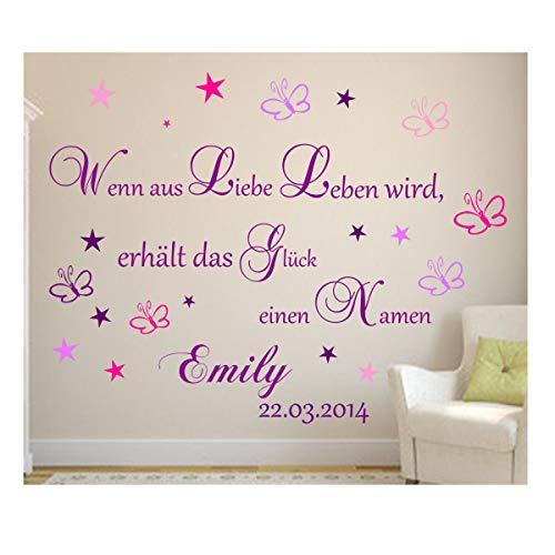 Wandschnörkel® Wandtattoo mit Namen+ Datum Spruch Lila Mix + Wenn aus Liebe Leben Wird.Wandspruch Baby Kinderzimmer (Set A Mädchen)