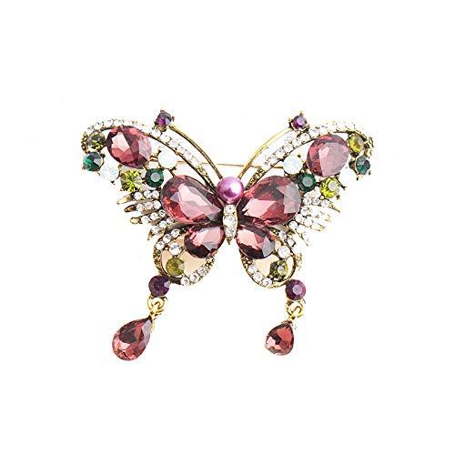 Broches de mariposa de cristal para mujer Broches rojos de vino animal Broche de bisutería de moda