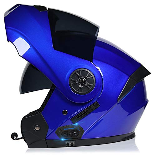 Casco de Motocicleta con Bluetooth abatible Delantero con Doble Visera, Cascos antiniebla aprobados por ECE para Carreras para Adultos de 55~62 CM