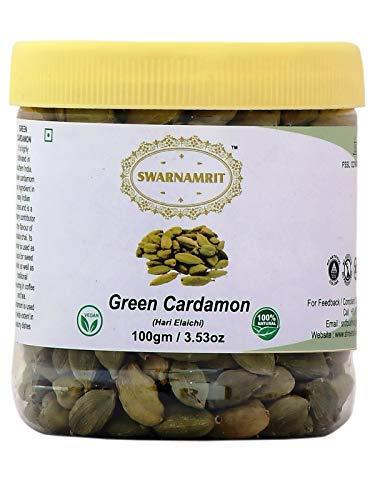 Green CardamomPods Spice (Hari Elachi) 3.53oz (100 gm) All Natural, Vegan, Indian Origin, PET Jar