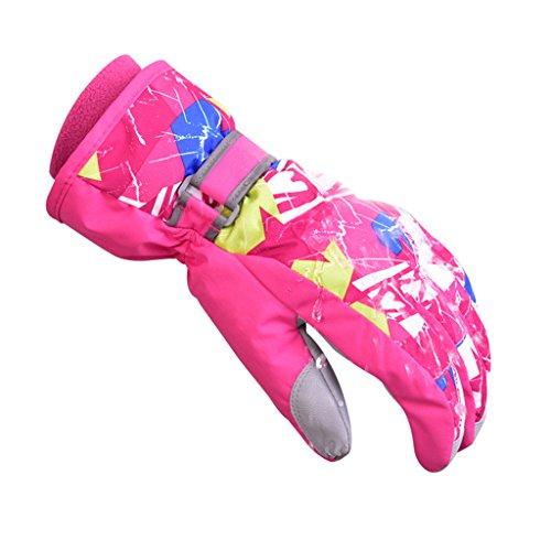 OMSLIFE Kinder Draussen Winter Handschuhe Warm Verdickung Wasserdicht Winddicht Skifahren Wasserfest und Winddicht Kinderhandschuhe (Pink, S (6-8 Jahre alt))