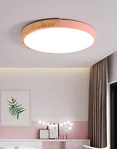HLY Lámpara decorativa, lámpara de techo, plafón de color nórdico de 40 cm, luz de estudio LED ultrafina, para dormitorio, lámpara redonda de madera de hierro gris blanco, rosa, luz