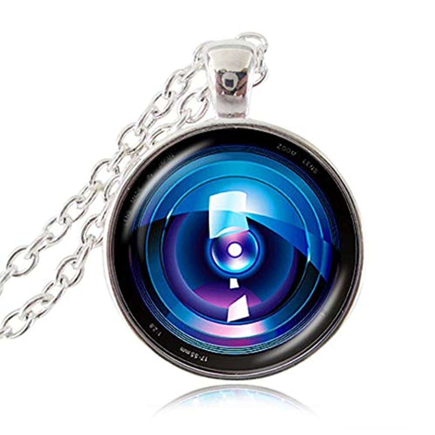 Camera Lens Pendant Vintage Photo Necklace Glass Cabochon Jewelry Old Lenses Chain Necklace Gift for The Photographer