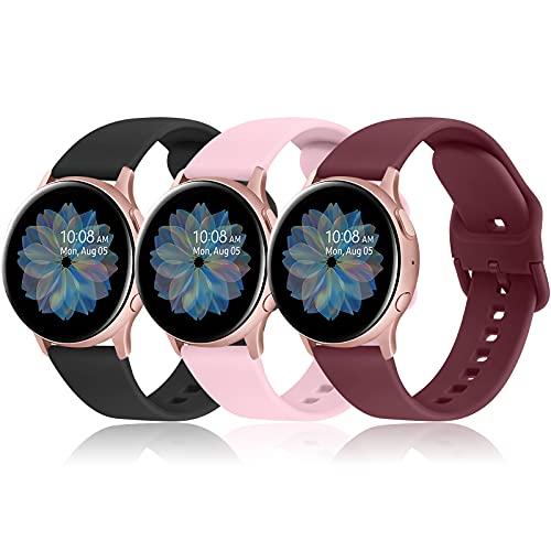 AK 20mm Cinturino per Samsung Galaxy Watch Active 2 40mm 44mm, Cinturino Sportiva in Silicone per Samsung Galaxy Watch 3 41mm/ Galaxy Watch Active 40mm/ 42mm/ Gear S2 Classic(Pack-2)