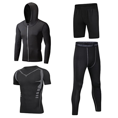 Dooxii Homme 4 Pièces Vêtements de Sport avec Hoodies Vestes Shirt Compression Collant Running Short Séchage Rapide pour Jogging Workout Football Ensemble de Fitness Tenue de Sportswear M