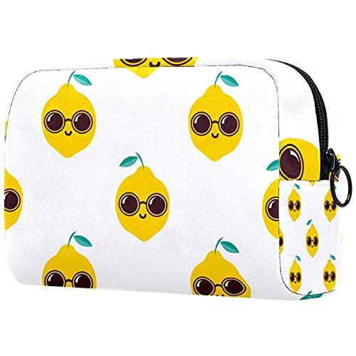 Yitian Cool Lemon con gafas de sol bolsa de cosméticos para mujeres, adorables bolsas de maquillaje espaciosas bolsa de aseo de viaje
