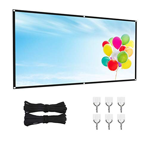 Projection Screen, 4K 100/120 inches 16:9 HD Foldable 1080 Portable Projector Movie Screen, Used for Outdoor Indoor Support of Home Backyard Theater Party