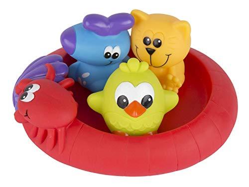 Playgro Badespielzeug Schwimmende Freunde, Fully sealed, Wasserdicht-schmutzfrei, 4-teilig, Baby Spielzeug beim Baden, Ab 6 Monate, BPA-frei, Bunt, 40213