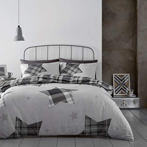 Gaveno Cavailia Grey Jaden Stars Flannel Duvet Set Double, 100% Brushed Cotton Tartan Check Bedding, 3 Piece Cosy Warm Easy Care Reversible DuvetCover Bedset, 1 Quilt Cover and 2 Pillow Cases