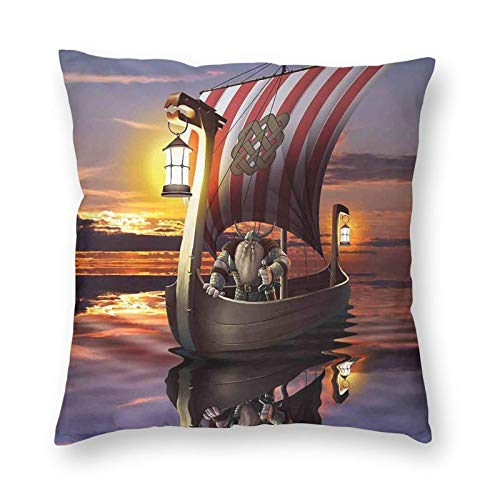 Fundas de cojín, un guerrero en un barco crepúsculo bárbaro nórdico escandinavo, impresión multicolor, fundas de almohada decorativas para sofá, coche, dormitorio, hogar, 45,7 x 45,7 cm