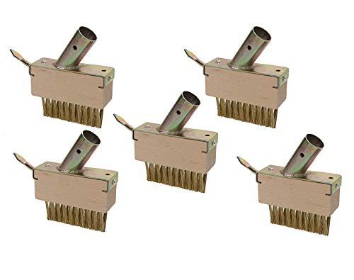 5er Set Unkraut Fugenbürste mit je 29 x 30 Metall-Borsten und Schaber gegen Unkraut ohne stiel, Fugenkratzer ca. 14 x 13 cm
