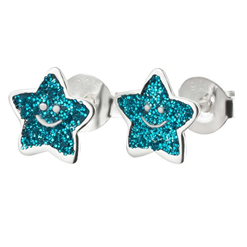SL-Silver orecchini a forma di stella glitterata Viso 925Argento in confezione regalo