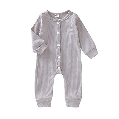 Julhold Pasgeboren Baby Meisje Jongen Eenvoudige Casual Lange Mouw Effen Katoen Romper Jumpsuit Kleding Outfits 0-24 Maanden