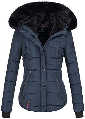 Marikoo warme Damen Winter Jacke Winterjacke Steppjacke gefüttert Kunstfell B618 [B618-Lotus-Navy-Gr.S]