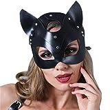 Máscara de cuero sexy para gatos, Sexy Catwoman Cosplay Máscara de cuero Máscara de gato Fiesta de mujeres Cabeza de gato Máscara de banda Remaches de disfraces Máscara de mascarada Maquillaje facial