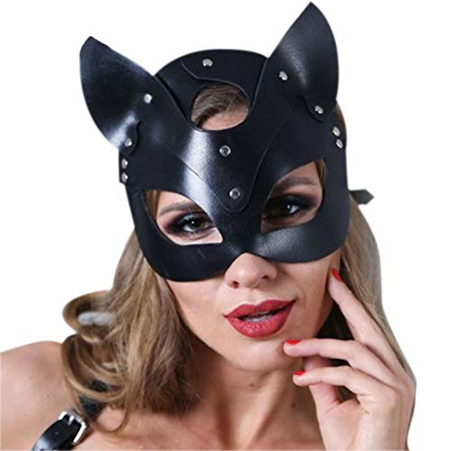 Yeawooh Leather Cat Mask Women Cat Head Mask, Halloween Carnival Party Mask Catwoman Cosplay Face Mask