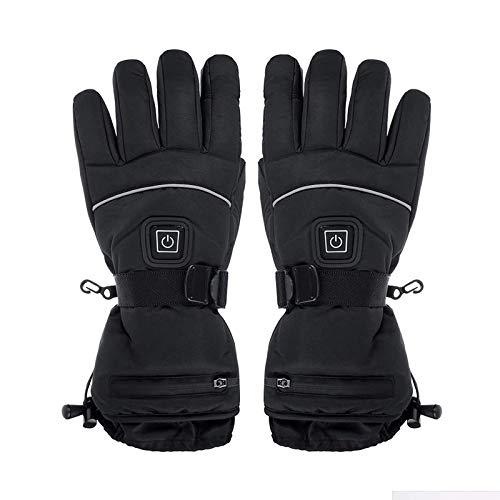 Guantes de calefacción térmica, guantes térmicos térmicos de 3 niveles de invierno USB calentador de manos impermeable con pilas para ciclismo, senderismo, calentadores de mano USB