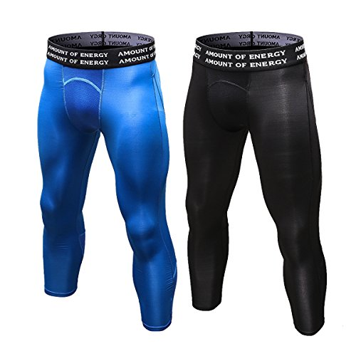 "iEventStar Herren 3/4 Baselayer Leggings Sport Strumpfhosen, 2 Pack: Blue, Black, XXL (Waist:33""-37\"")"