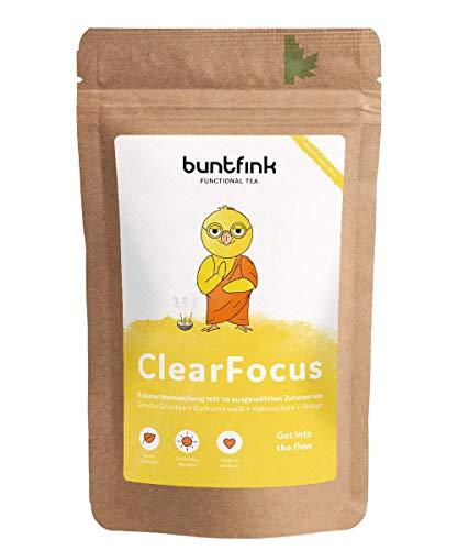 """Buntfink """"ClearFocus"""" Tee mit Sencha Grüntee + Kurkuma + Ginkgo + schwarzer Pfeffer, für Schule, Job und Studium, 100% natürlicher Kräutertee aus Deutschland, 60g loser Tee"""