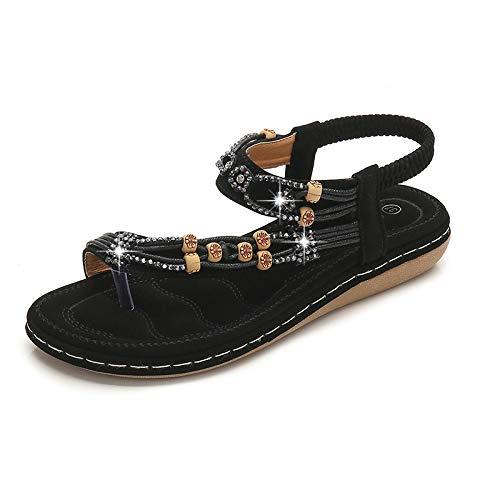 Sandalias De Zapatos De Mujer De Talla Grande Negras Sandalias Con Cuentas De Diamantes De Imitación Retro Sandalias Planas De Cabeza Redonda Zapatos De Suela Blanda De Tendón De Res