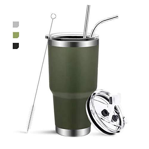 Tazza da Viaggio,Senza BPA 30oz in Acciaio Inossidabile con Isolamento a Vuoto Tazza da Termica ermetica da Viaggio Tazza da Caffè a Doppia Parete(verde)