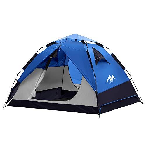 Zelt 3-4 Personen Wasserdicht, Sekundenzelt Campingzelt Kuppelzelt Wurfzelt mit Quick-Up-System, 2 Türen, Doppelwandig Schnellaufbauzelt Festival Pop Up Zelt für Camping Reisen Strand Wandern