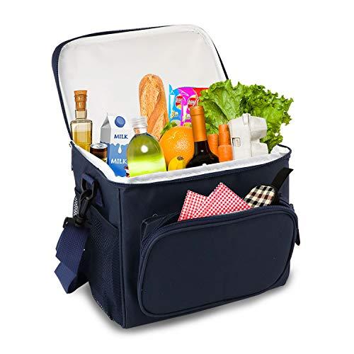 Elegant Life Picknicktasche Kühltasche Lunchtasche Kühlbox faltbar Mittagessen-Tasche für Lebensmitteltransport zur Arbeit Schule Picknick (Blau-1)