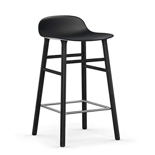Normann Copenhagen vorm barkruk frame zwart 65cm, zwart zitschaal polypropyleen frame hout zwart gelakt BxHxD 43x77x42,5cm