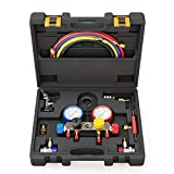 AURELIO TECH 4 Way AC Manifold Gauge Set Fits R134A R410A and R22 Refrigerants with 5 Feet Hose, 3 Acme Tank Adapters, Adjustable Couplers and Can Tap