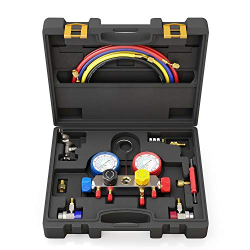 4 Way A/C Manifold Gauge Set Fits R134A R410A and R22 Refrigerants with 5 Feet Hose, 3 Acme Tank Adapters, Adjustable Couplers and Can Tap