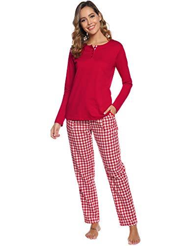 Aibrou Pijama Mujer Invierno Dos Piezas,100% Algodón Camiseta y Pantalones Largos Casual Ropa de Casa Dormir Suave y Comodo S-XXL