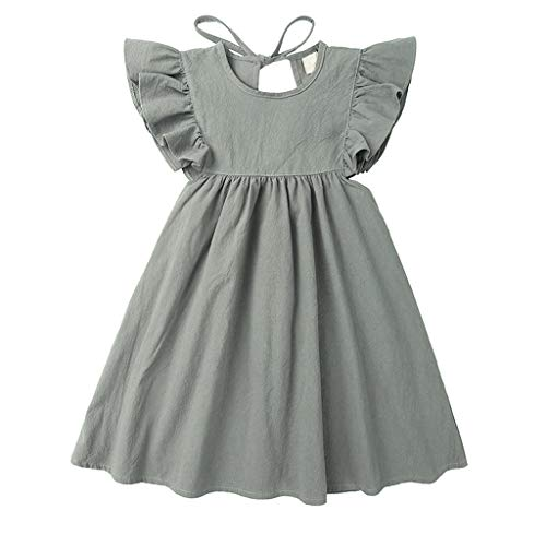 jerferr Baby Dirndl Leinen Rüschen Prinzessin Casual Beach Dress Outfits Kleidung