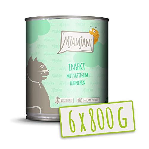 MjAMjAM - Pienso acuoso para Gatos - Insectos con Pollo jugoso - Sin Cereales - 6 x 800 g