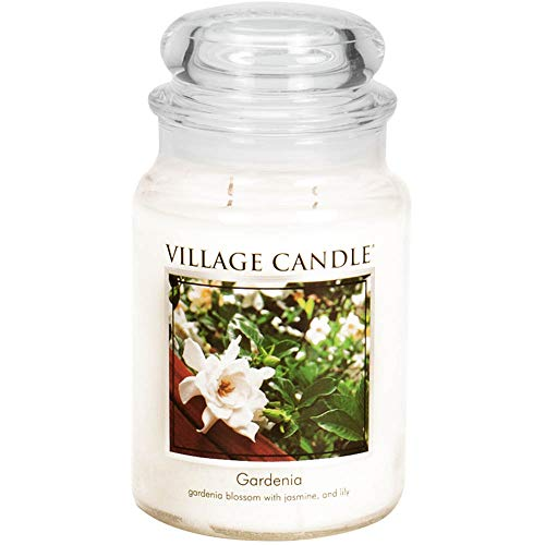 Village Candle Gardenia Large Glass Apothecary Jar Scented Candle, 21.25 oz, White