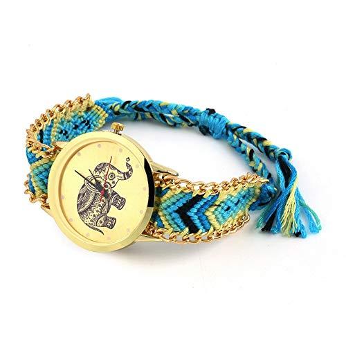 Reloj de pulsera de cuarzo para mujer con caja de acero inoxidable de Ginebra étnica de mezcla de algodón, hecho a mano, trenzado, diseño de elefante