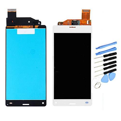 YQZ Sony Xperia Z3 compact d5803 SO-02G Z3 Mini D5833 修理交換用フロントパネル LCD タッチパネル 液晶パネル(フロントガラスデジタイザ)修理工具セット付き (ホワイト )