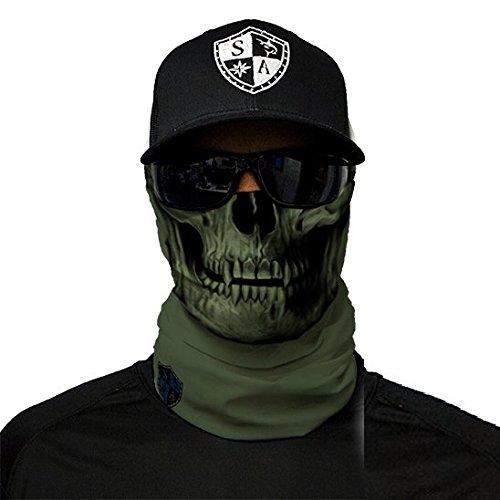 SA Fishing Face Shields ** 40+ Designs verfügbar ** Qualitäts Bandana/Multifunktionstuch/Schlauchtuch/Halstuch aus Stoff & SPF 40 - Face Masks von SA Company, Tactical | OD Green Skull