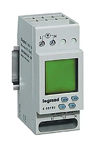 Legrand, digitale Wochen-Zeitschaltuhr MicroRex D21, 1 Kanal, 2-modulig für Hutschiene mit 230V und 4000W, 603780