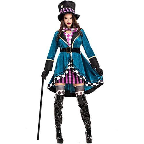 Alice im Wunderland Kostüm Rote Königin Verrückter Hutmacher Kostüm für Frauen Halloween Hexe Kleid Sexy Magier Kostüm Magic Show Wear Gr. 85, Verrückter Hutmacher-Kostüm.