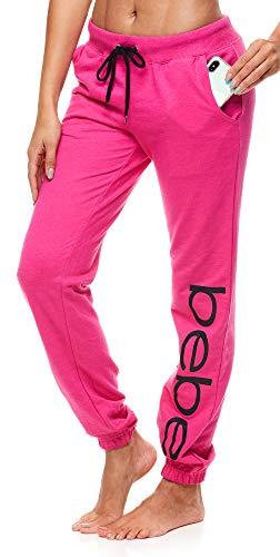 bebe Womens Sweatpants with Pockets French Terry Sleep Lounge Jogger Pant Set(Fuchsia, Small)