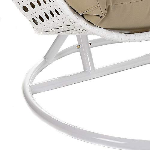 Home Deluxe Polyrattan Hängesessel Twin XXL, inkl. Sitz- und Rückenkissen (weiß) - 4