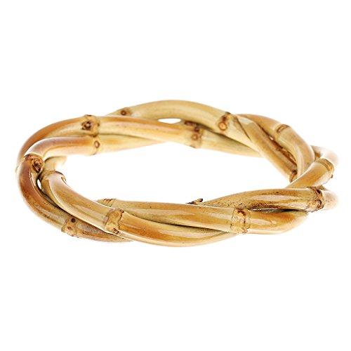 Hellery Vintage Mode Bambus Wurzel Geflochtenes Armband Armbänder
