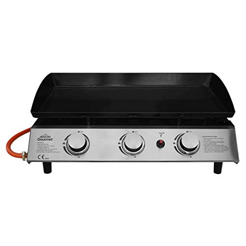 Dellonda 3 Burner Portable Gas Plancha Grill BBQ Griddle with Piezo Ignition, Stainless Steel, 7.5kW