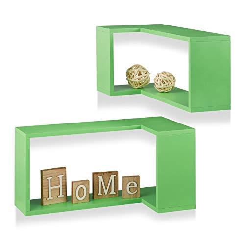 Relaxdays vrijzwevend, decoratief, om op te hangen, kinderkamer, modern design, MDF, groene hoekwandplank, 2-delige set, hout, 30 x 60 x 30 cm