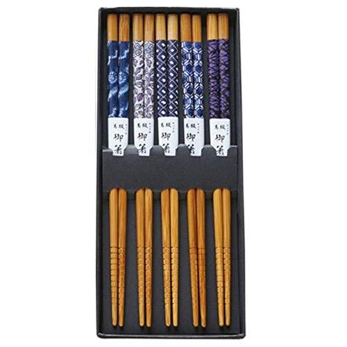 WXX 5 Pares/Set Gato de la Suerte de bambú ecológica Palillos Hechos a Mano palillo de Madera del Conjunto de Madera de Regalo for los Amigos (Color : B)