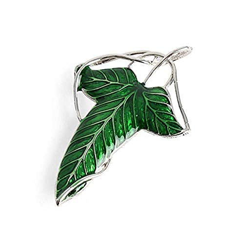 DIanDianwl Men's Green Elf Leaf Pin Pendant Brooch, Anti-Glass Scarf Buckle Coat Western Ornament Badge Gift-1